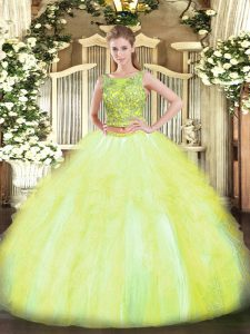 Yellow Green Tulle Lace Up Quinceanera Gown Sleeveless Floor Length Beading and Ruffles