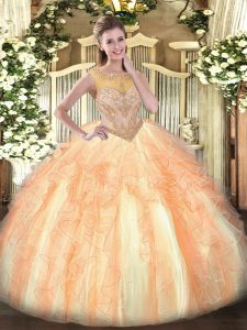High Quality Multi-color Ball Gowns Beading and Ruffles Quinceanera Dresses Lace Up Organza Sleeveless Floor Length