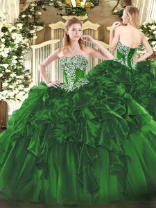 Dramatic Floor Length Ball Gowns Sleeveless Dark Green Quinceanera Dress Lace Up