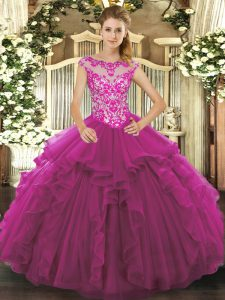 Romantic Sleeveless Floor Length Beading and Ruffles Lace Up Quinceanera Dress with Fuchsia
