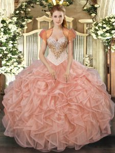 Exceptional Sweetheart Sleeveless Organza Ball Gown Prom Dress Beading and Ruffles Lace Up