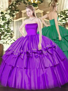 Captivating Eggplant Purple Sleeveless Organza and Taffeta Zipper Sweet 16 Quinceanera Dress for Military Ball and Sweet 16 and Quinceanera