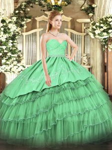 Green Zipper Quinceanera Gown Beading and Lace and Embroidery and Ruffled Layers Sleeveless Floor Length