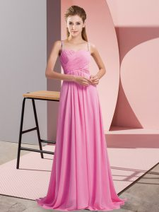 Rose Pink Empire Ruching Prom Dresses Backless Chiffon Sleeveless