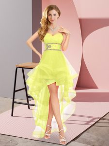 Yellow Sleeveless Beading High Low Prom Gown