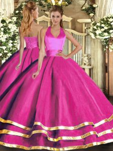 Sleeveless Lace Up Floor Length Ruffled Layers Quinceanera Dresses