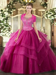 Simple Hot Pink Tulle Clasp Handle Scoop Sleeveless Floor Length Quinceanera Dress Beading and Ruffles