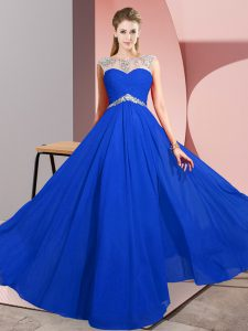Spectacular Sleeveless Clasp Handle Floor Length Beading Prom Gown