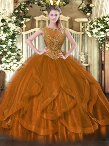 Floor Length Zipper Quince Ball Gowns Brown for Sweet 16 and Quinceanera with Beading and Ruffles