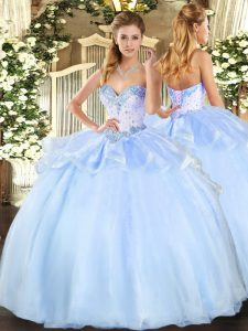 Light Blue Lace Up Vestidos de Quinceanera Beading Sleeveless Floor Length