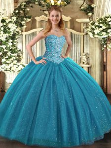 Eye-catching Sleeveless Tulle Floor Length Lace Up Vestidos de Quinceanera in Teal with Beading