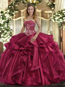 Superior Red Sleeveless Organza Lace Up 15th Birthday Dress for Military Ball and Sweet 16 and Quinceanera