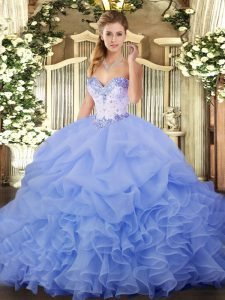 Floor Length Lavender Quinceanera Dress Organza Sleeveless Beading and Ruffles and Pick Ups