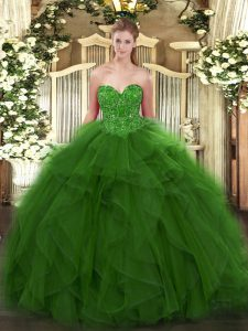 Green Ball Gowns Sweetheart Sleeveless Tulle Floor Length Lace Up Beading Quinceanera Dress