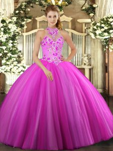 Amazing Floor Length Fuchsia Quinceanera Gowns Tulle Sleeveless Embroidery