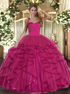 Adorable Ruffles Sweet 16 Dresses Fuchsia Lace Up Sleeveless Floor Length