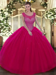 Modest Scoop Sleeveless Tulle Sweet 16 Quinceanera Dress Beading Backless