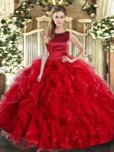 Scoop Sleeveless Tulle Quinceanera Dresses Ruffles Lace Up
