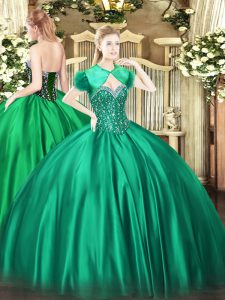 Turquoise Ball Gowns Sweetheart Sleeveless Satin Floor Length Lace Up Beading 15th Birthday Dress