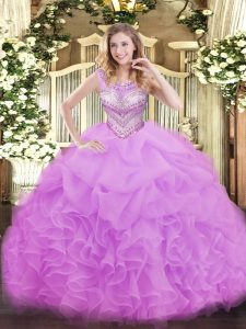 Floor Length Ball Gowns Sleeveless Lilac Quince Ball Gowns Lace Up
