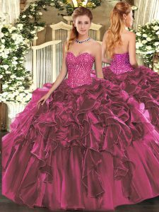 Discount Burgundy Sweetheart Lace Up Beading and Ruffles Quinceanera Dress Sleeveless