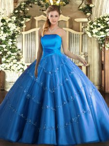 Glamorous Blue Ball Gowns Strapless Sleeveless Tulle Floor Length Lace Up Appliques Sweet 16 Dress