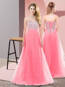 Watermelon Red Empire Tulle Sweetheart Sleeveless Beading Floor Length Lace Up Dress for Prom