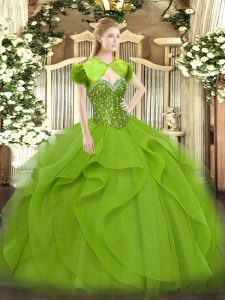 Sleeveless Beading and Ruffles Floor Length 15 Quinceanera Dress