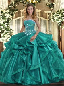 Fashion Turquoise Lace Up Strapless Beading and Ruffles Quinceanera Dresses Organza Sleeveless