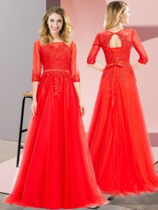 Red Square Neckline Lace 3 4 Length Sleeve Lace Up