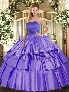 Lavender Strapless Neckline Ruffled Layers Ball Gown Prom Dress Sleeveless Lace Up