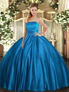 Romantic Blue Sleeveless Ruching Floor Length Quince Ball Gowns