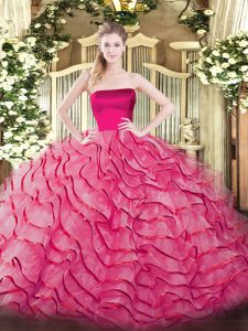 Discount Hot Pink Ball Gowns Strapless Sleeveless Tulle Brush Train Zipper Ruffled Layers Sweet 16 Dress