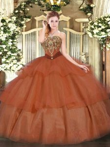 Glorious Floor Length Lace Up Quinceanera Dresses Rust Red for Military Ball and Sweet 16 and Quinceanera with Beading and Ruffled Layers