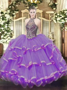 Eggplant Purple Sleeveless Organza Lace Up Sweet 16 Quinceanera Dress for Sweet 16 and Quinceanera