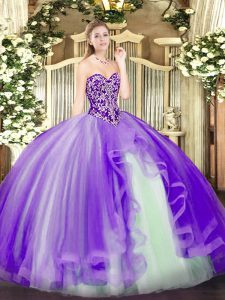 Modern Beading and Ruffles Quinceanera Gowns Lavender Lace Up Sleeveless Floor Length