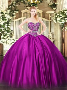Custom Designed Floor Length Ball Gowns Sleeveless Fuchsia Quinceanera Dress Lace Up