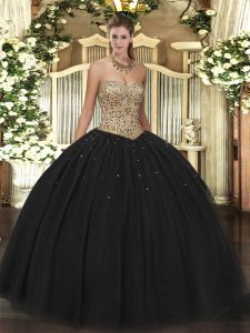 Stunning Black Ball Gowns Beading Quinceanera Gowns Lace Up Tulle Sleeveless Floor Length