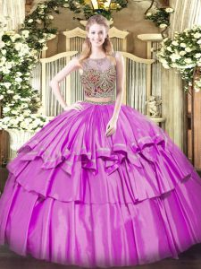 Elegant Two Pieces Sweet 16 Dresses Lilac Scoop Organza and Taffeta Sleeveless Floor Length Lace Up