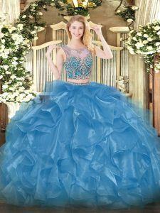 Sleeveless Lace Up Floor Length Beading and Ruffles Vestidos de Quinceanera