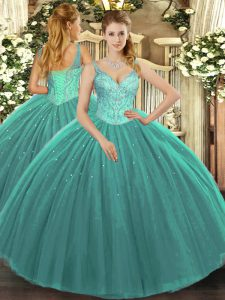 Trendy Turquoise Ball Gowns Tulle V-neck Sleeveless Beading Floor Length Lace Up 15 Quinceanera Dress
