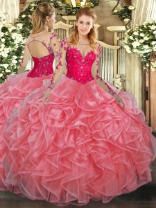 Watermelon Red Ball Gowns Lace and Ruffles Vestidos de Quinceanera Lace Up Organza Long Sleeves Floor Length