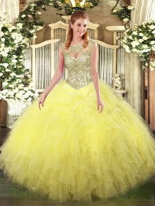 Cute Tulle Scoop Sleeveless Lace Up Beading and Ruffles Quinceanera Dress in Yellow