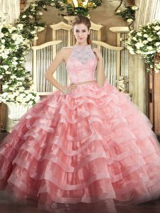 Cute Watermelon Red Two Pieces Lace and Ruffled Layers Quinceanera Gowns Zipper Tulle Sleeveless Floor Length