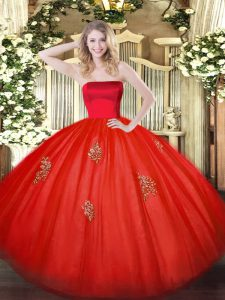 Low Price Red Tulle Zipper Strapless Sleeveless Floor Length Sweet 16 Dress Appliques