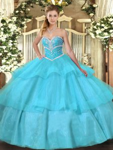 Discount Sweetheart Sleeveless Sweet 16 Quinceanera Dress Floor Length Beading and Ruffled Layers Aqua Blue Tulle