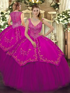 Floor Length Ball Gowns Sleeveless Fuchsia Quinceanera Dress Zipper