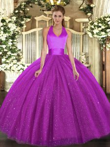 High Class Fuchsia Lace Up Halter Top Sequins Quince Ball Gowns Tulle Sleeveless