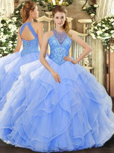 Sexy Light Blue Sleeveless Organza Lace Up Quinceanera Dress for Military Ball and Sweet 16 and Quinceanera