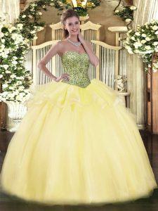 Classical Light Yellow Sleeveless Tulle Lace Up Ball Gown Prom Dress for Military Ball and Sweet 16 and Quinceanera